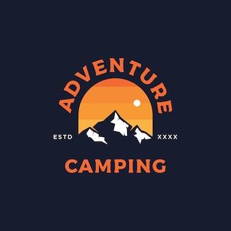 Adventure camping badge logo design   illustration
