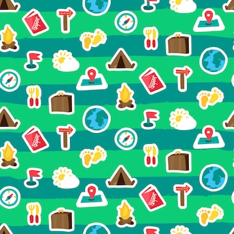 Adventure camping seamless pattern