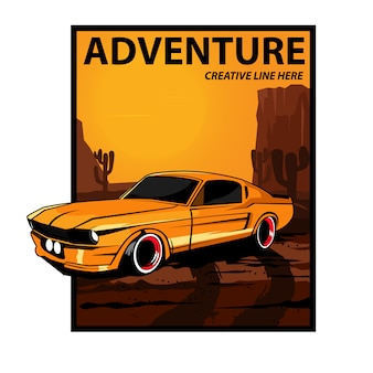 Adventure car on desert