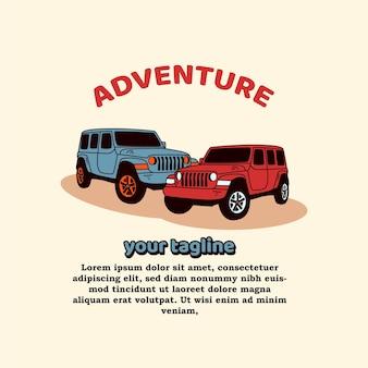 Mascotte di auto d'avventura in stile moderno