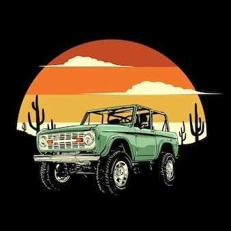 Adventure car with retro background