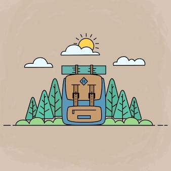 冒険かわいいアイコン、フラットなデザインを使用してバックパックと森の野外活動図