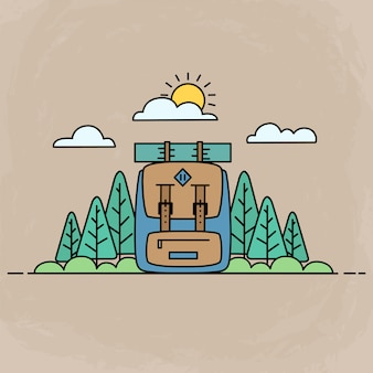Adventure cute icons, outdoor activity illustration with backpack and forest by using flat design