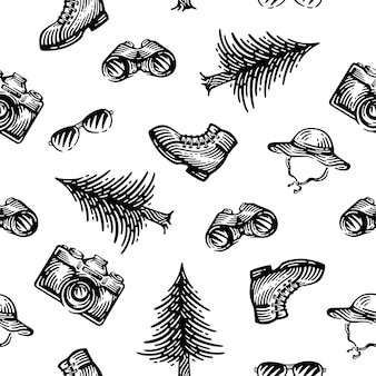 Adventure elements seamless patterns.