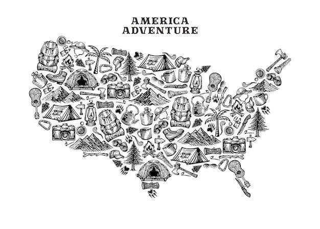 Adventure elements shaped island america