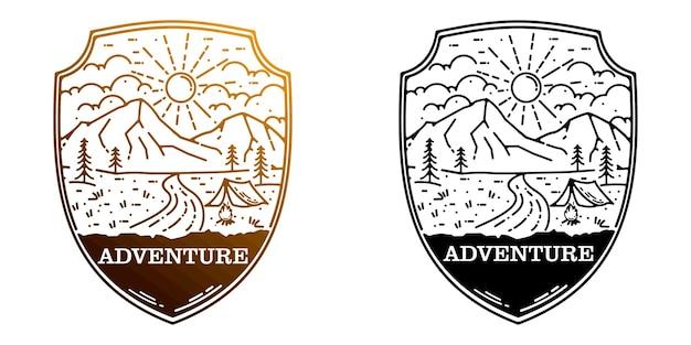 Adventure emblem logo design use style monoline design
