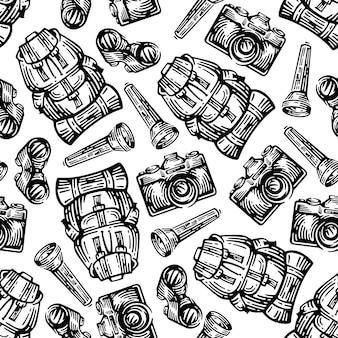 Adventure equipment seamless pattern