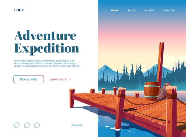 Adventure expedition cartoon landing page with wooden pier on lake, pond or river nature landscape.