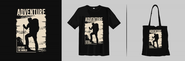 Adventure, explore the world with climber silhouettes for t-shirt and tote bag