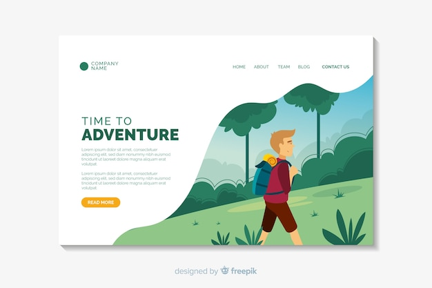 Adventure flat design landing page template