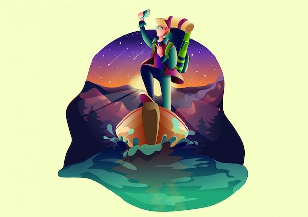 Adventure flat vector illustration.