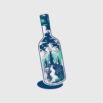 Adventure glass bottle
