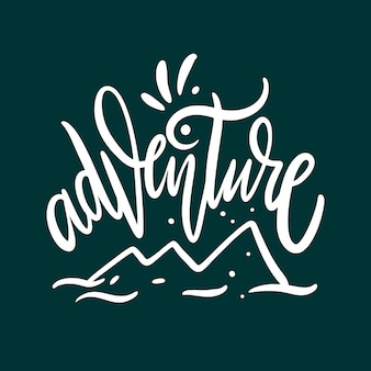 Adventure. hand drawn vector lettering. isolated on green background.