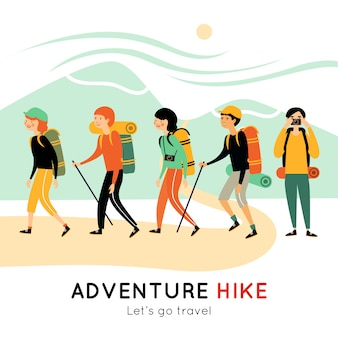Adventure hike of happy friends illustration