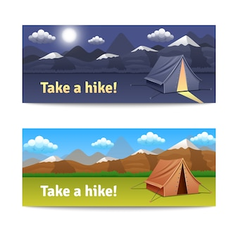 Adventure and hike realistic horizontal banners set with tent and mountains