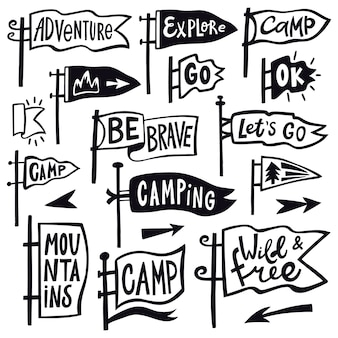 Adventure hiking pennant. hand drawn camping pennant flag, vintage lettering flags, tourist quotation pennants  illustration icons set. hiking and pennant outdoor travel, explore emblem