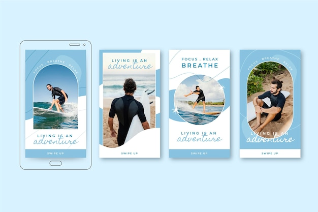 Adventure instagram stories collection with photo