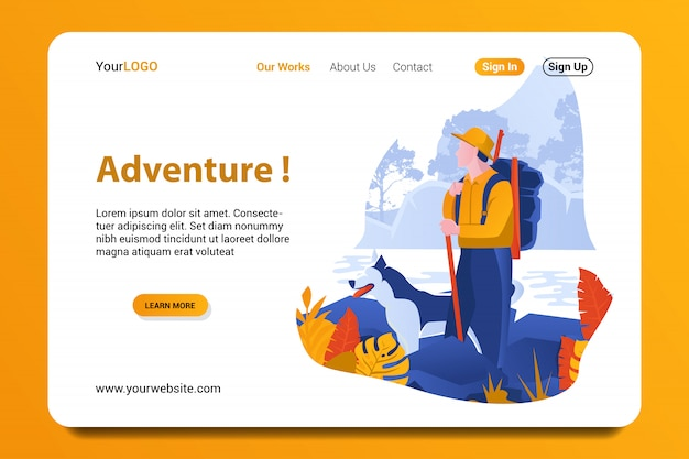 Adventure landing page background.