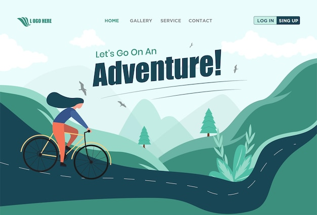 Adventure landing page design flat illutrations premium vector