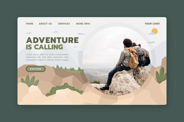 사진이 포함 된 모험 방문 페이지 템플릿