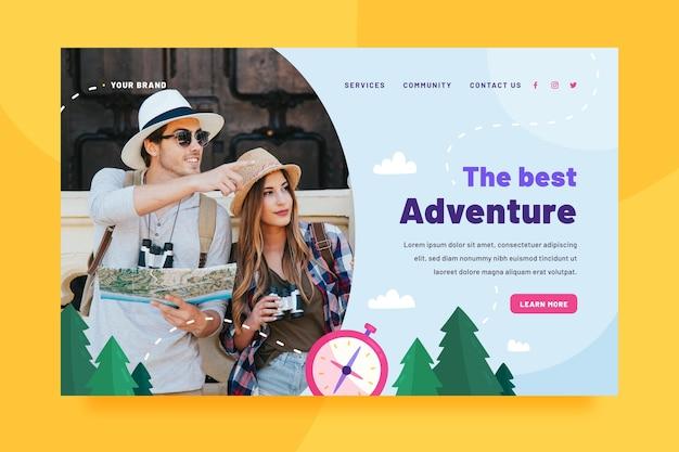 Шаблон целевой страницы приключения с фото