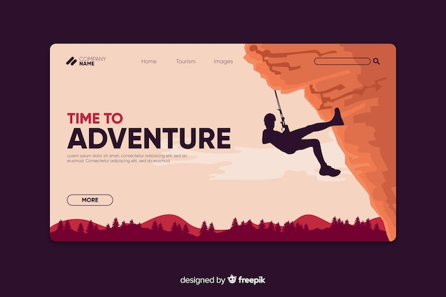 Adventure landing page template