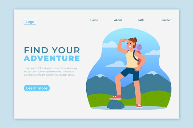 Adventure landing page template