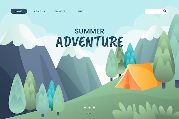 Modello di pagina di destinazione dell'avventura