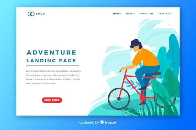 Adventure landing page with cycling