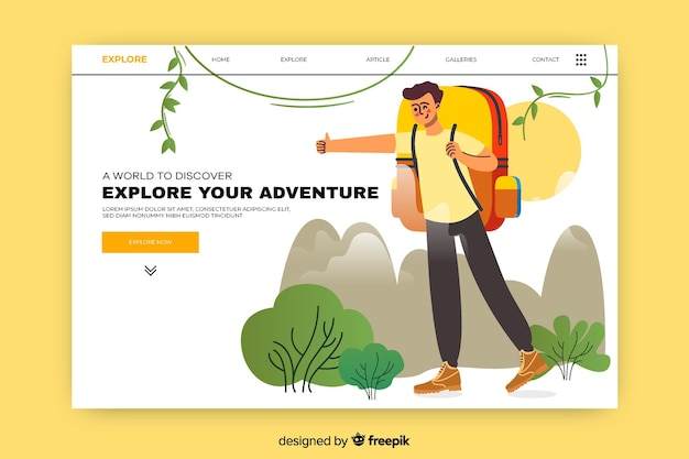 Adventure landing page with excited man
