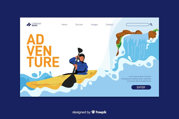 Adventure landing page with kayak