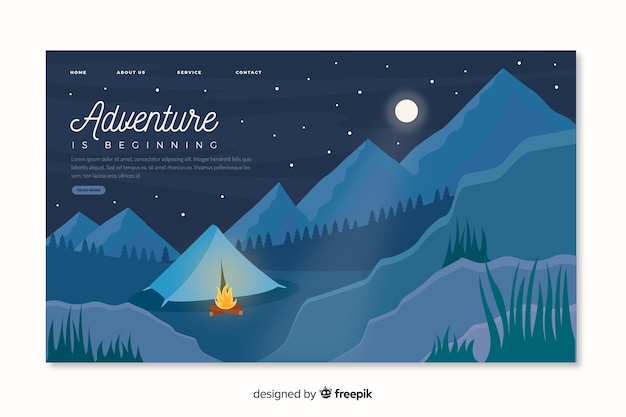 Adventure landing page with mountains