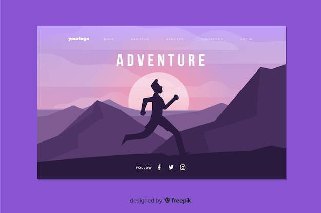 Adventure landing page with running