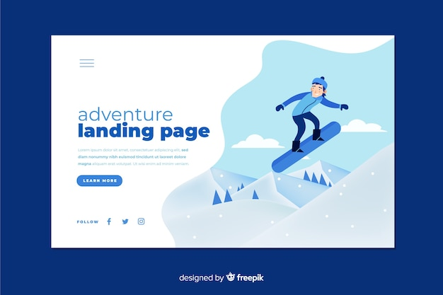 Adventure landing page with snowboarding