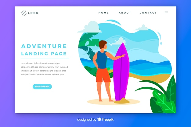 Adventure landing page with surfing