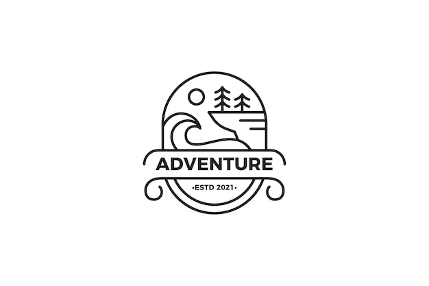 Adventure landscape monoline logo template