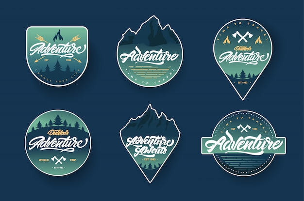 Adventure lettering badge set