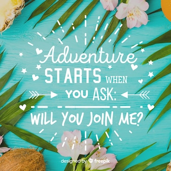 Adventure lettering with photo background