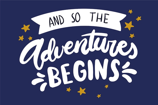 Adventure lettering with stars