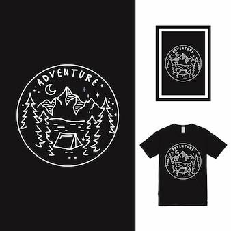 Дизайн футболки adventure line art