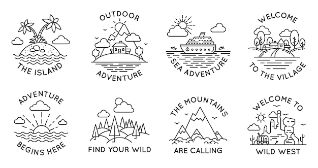 Adventure line badges. outdoor travel logos and emblems with mountain, cabin in forest, tropical island, village and ocean liner, vector set. welcome to wild west, sea trip or journey