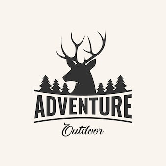 Adventure logo design inspiration with deer and pine element,