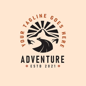 Adventure logo emblem vector illustration with river and mountains silhouettes vintage design