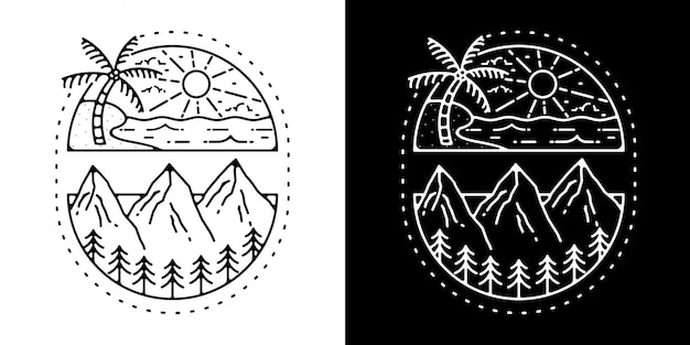 Adventure logo monoline outdoor badge design