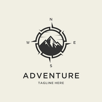 Логотип приключения с изображением горы и компаса