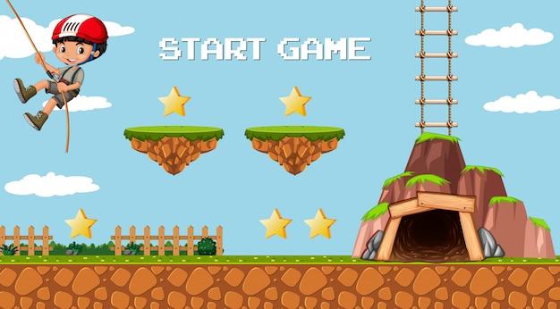 Adventure mining game template with a boy character