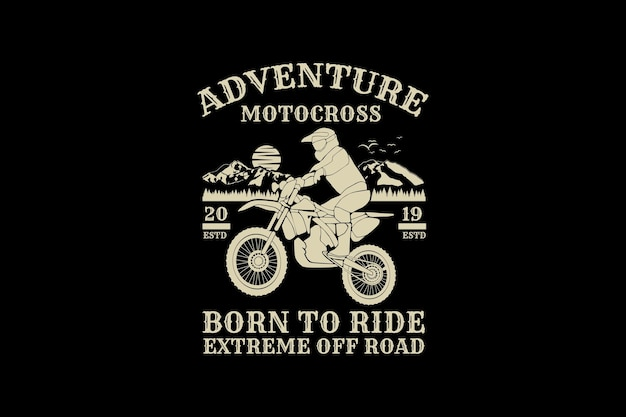 Adventure motocross, design silhouette retro style