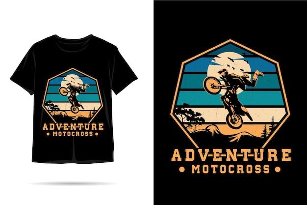 Дизайн футболки с силуэтом для мотокросса adventure