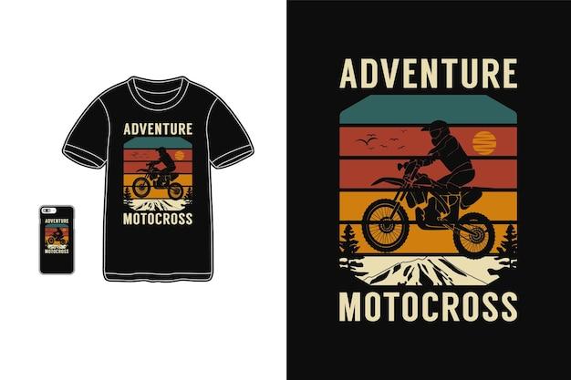 Приключенческий мотокросс, дизайн футболки, силуэт в стиле ретро