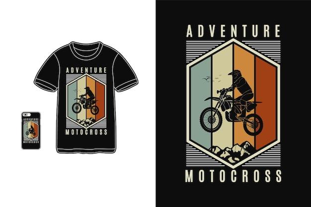Приключенческий мотокросс, дизайн футболки в стиле силуэта